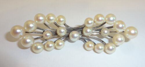 """Vintage Chinese Export Silver & Pearl Brooch Pin - Marked """"SILVER"""""""