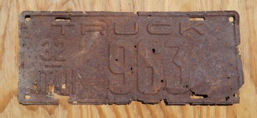 1932 Utah TRUCK License Plate 3 Digit # 963