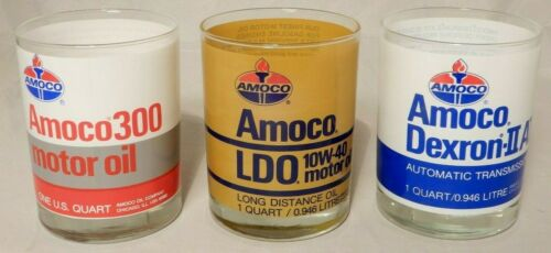 """Vintage AMOCO 1 Qt. Oil Can Shaped Drinking Glasses 4 1/4"""" Tall (Set of 3)"""