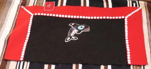 Vintage Northwest Coast BUTTON BLANKET bead killer whale red black Tlingit NWC