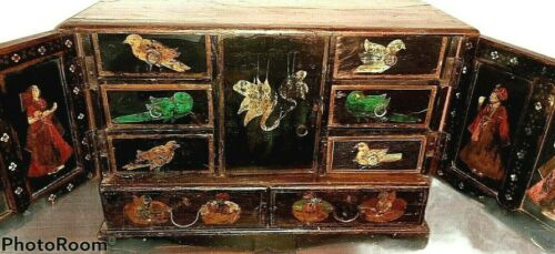 Antique Cabinet Chest Black Lacquer - Asian Hand Painted Birds Figures Table Top