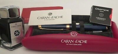 NEW Caran d`Ach LEMAN BLUE  FOUNTAIN PEN   THIS IS BEST WRITING FP +FREE INK