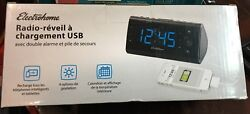 Electrohome Alarm Clock Radio with USB Charging for Smartphones & Tablets