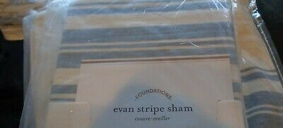 2 Pottery Barn Evan stripe Euro shams blue  New w tag