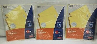 3 Lot Avery 8 Tab Binder Dividers Insertable Clear Big Tabs 11112 - New