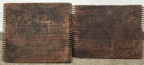Original Antique Malena Stomach Liver Pills for Constipation Wood Crate Tops
