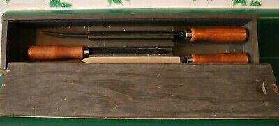 Machinists Scrapers - 12 Half Round 2 Three Square Scrapers In Wooden Box