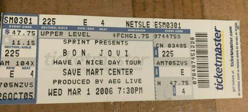 Bon Jovi Full Ticket Save Mart Center March 1, 2006    Fresno California