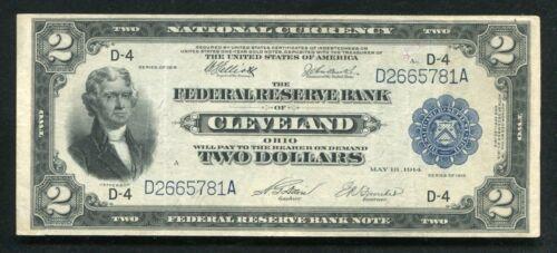 """FR. 759 1918 $2 """"BATTLESHIP"""" FRBN FEDERAL RESERVE BANK NOTE CLEVELAND, OH VF+"""