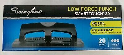 Swingline 3 Hole Punch Smarttouch Low Force 20 Sheets Capacity 74075 New