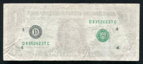 """1995 $1 ONE DOLLAR FRN FEDERAL RESERVE NOTE """"INSUFFICIENT INKING ERROR"""" VF"""