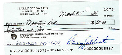 Barry Goldwater Signed Check