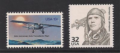 CHARLES LINDBERGH - SPIRIT OF ST LOUIS - 2 U.S. POSTAGE STAMPS - MINT CONDITION