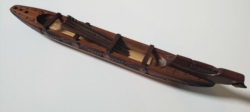 """Maori Native Woodcraft 20"""" War Boat Ship Waka Wood Handmade New Zealand"""