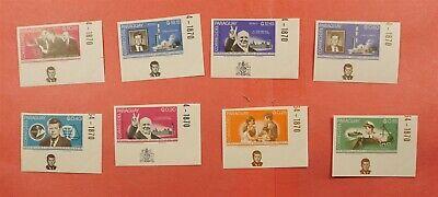 8 IMPERF MARGIN INSCRIPTION SET 1965 PARAGUAY JFK #887-94 MNH * EX LEO MALZ