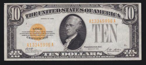 US 1928 $10 Gold Certificate FR 2400 XF-AU (996)