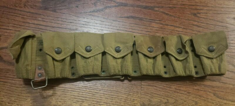 WWI US M1910 CARTRIDGE BELT AMMO MILLS Rare American Eagle Snaps Buttons