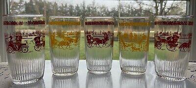 Vintage Hazel Atlas 1 Pint Sour Cream Glasses ~ 1900's ~Yellow & Red - Set of 5