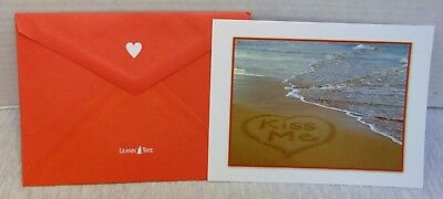 Valentine's Day Card Leanin' Tree Kiss Me, Heart, Beach, Sea, With Envelope