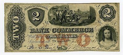 1861  2 The Bank Of Commerce   Savannah  Georgia Note Civil War Era