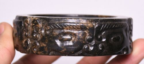 8CM Rare Old China Hetian Jade Sculpture Bull beast face bracelet bangle