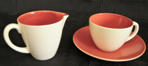 POOLE Twin Tone ESPRESSO CUP & SAUCER + CREAMER, RUST BROWN