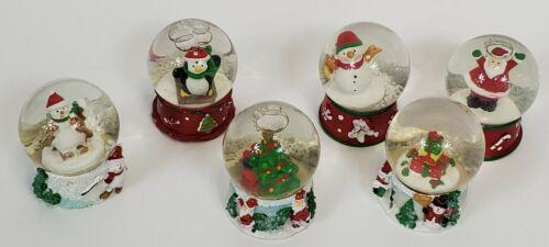 Vintage Snow Globe Lot of 6 Penguin, Santa, Snowman, Gifts, & Christmas Tree GI