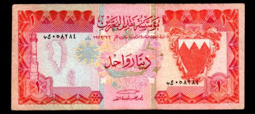 BAHRAIN- 1 DINAR BANKNOTE 1973 P-9 FINE -VERY FINE