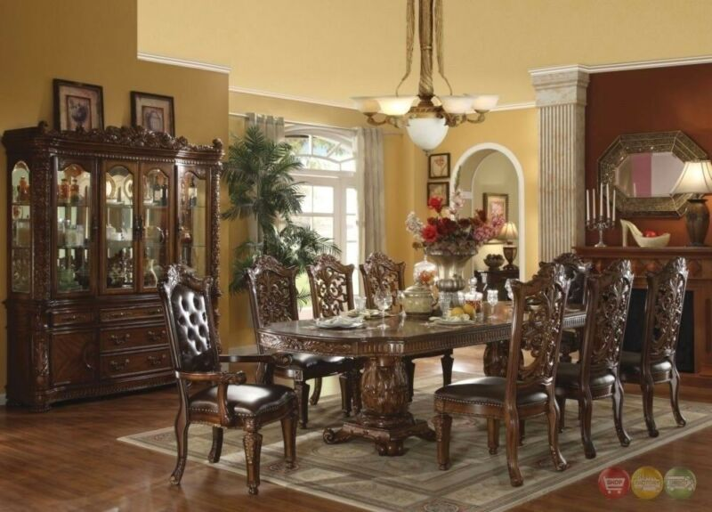 "Vendome Luxury Traditional 7pc 85"" - 121"" Wood Dining Table Set In Brown Cherry"