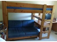 Stompa teenager's bunk bed with sofa, desk and drawers