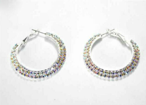 "BASIC 2 LINE AURORA BOREALIS TONE RHINESTONE 1.25"" Silver COLOR HOOP EARRINGS AB"