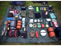 Selection of camping gear