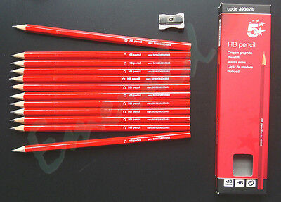 HB Pencils, Pack of 12 Pencils & FREE Metal Sharpener