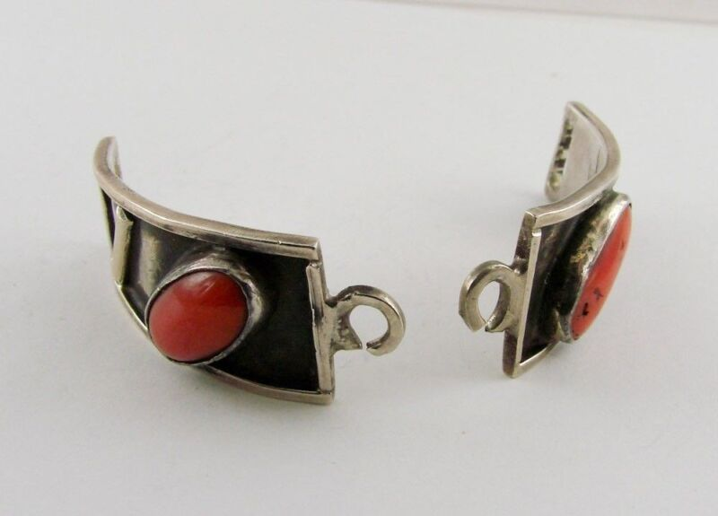 Sterling Silver Coral Watch Band Tips Set Vintage 925 Silver Tribal