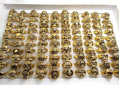 Wholesale 50x TOP mix of Golden Skeleton skull Punk Rings Men