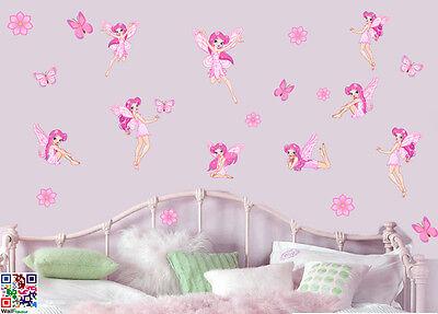 Fairies Flowers & Butterflies - Pack of 22 Printed Wall Art Stickers Girls Fairy