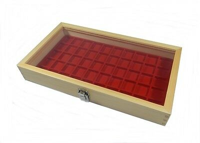 Key Locking Natural Wood Glass Top Lid Red 50 Space Jewelry Display Case
