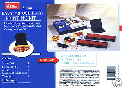 Shiny S-200 Diy Printing Rubber Stamp Kit 4mm And 5mm Character Height Garage