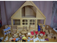 Details about ELC WOODEN DOLLS HOUSE WITH OVER furniture figres BUNDLE a lot animal