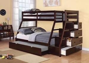 $999 - STAIR CASE BUNK BED ESPRESSO