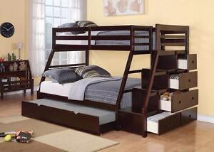 $999 - STAIR CASE BUNK BED ESPRESSO