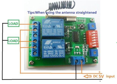 Dc 5v 433 92mhz 2 Channels Rf Wireless Delay Relay