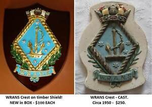 WRANS -Ships Crest. R.A.N. NEW VERY RARE+Cast WRANS Crest SCARCE. Wembley Cambridge Area Preview