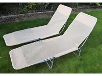 A Pair of Folding Sun Loungers Garden Chair Camping Bed Reclining Sunlounger x 2 Handles to Carry
