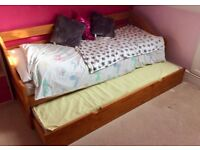 Pine Single Bed/Day bed with a single pull-out bed underneath + 2 matresses