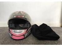 KBC pink glittery motorbike helmet vgc 55-56cm