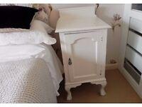 Antique Victorian or Edwardian distressed painted vintage walnut bedside cabinet pot cupboard