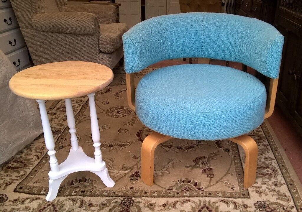 Vintage Scandi Mid Century Style Rare Ikea Fridene 360 Swivel Chair Turquoise Beech