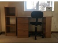 Oak effect 3 drawer desk, chair and storage unit