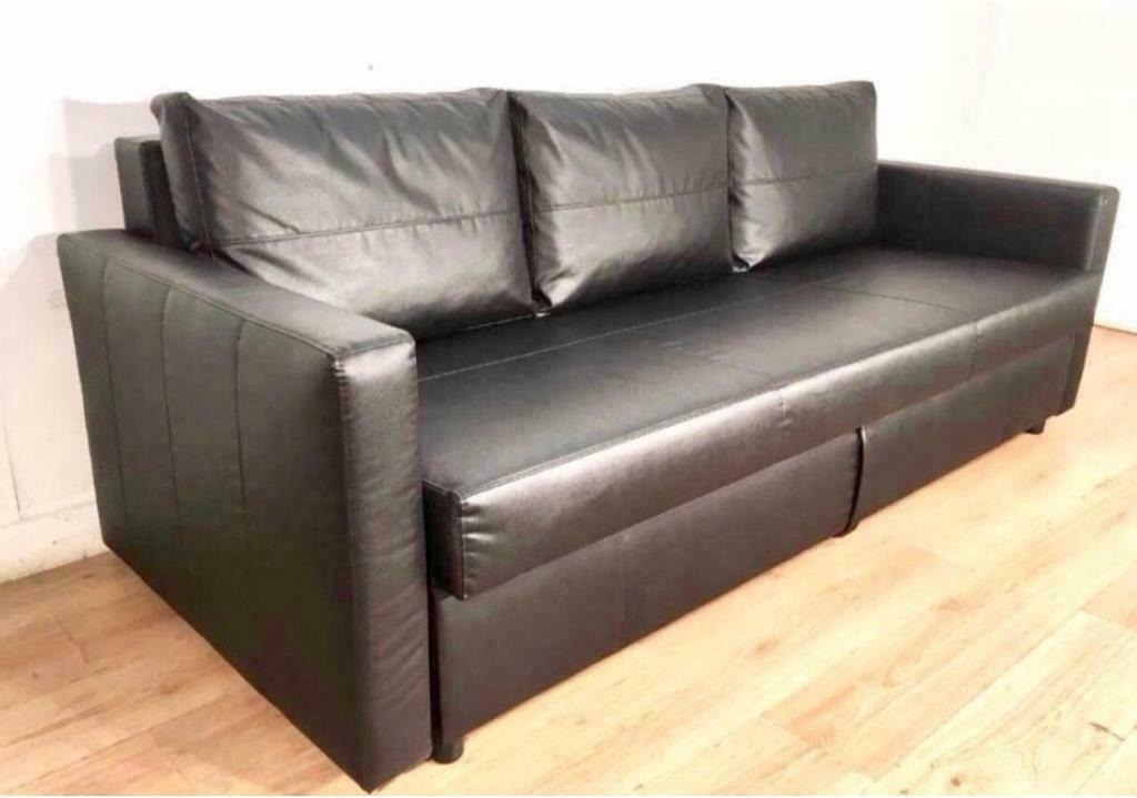 Sofa Bed Ikea Frihiten Black Leather Col Good Condi Comfy 3 4 Seater Corner Style